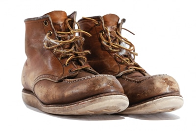 repair and clean old leather boots